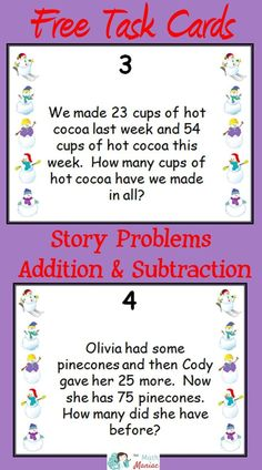 Grab this fun and free set of task cards to help your students work on double digit addition and subtraction story problems.