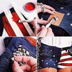 """#DIY : this is really nice when you have a old short or something that you never wear . Now you have a lovely """" new """" shortje without spending much money ! ♡"""