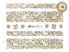 HBJY014 Gold Lace Nail Sticker Nail Art - 1 pc
