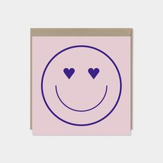 """Heart Eyes Smiley Face Valentine's Day Card, Fun Valentine's Day Card, Square Valentine's Day Card, 5.25"""" x 5.25"""", Recycled Cards, Heart Art Recycled Gifts, Gift Wrapping Paper, Kraft Envelopes, Heart Art, Heart Eyes, Blank Cards, Smiley, Valentines Day, Art Crafts"""