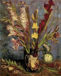Vase with Gladioli Vincent van Gogh Impressionism Flowers art for sale at Toperfect gallery. Buy the Vase with Gladioli Vincent van Gogh Impressionism Flowers oil painting in Factory Price. Vincent Van Gogh, Van Gogh Art, Art Van, Van Gogh Pinturas, Van Gogh Paintings, Flower Paintings, Painting Flowers, Painting Art, Ouvrages D'art