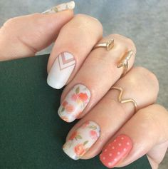 Florals, polka dots, and geometry... this nail art has it all! #nailart #springnails #easter