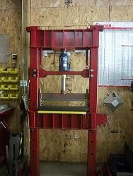 Press with Bending Brake by BBB -- Homemade press with bending brake constructed from I-beams, tubing, bar stock, springs, and a jack. http://www.homemadetools.net/homemade-press-with-bending-brake