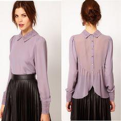 2015 nova malha meia manga feminino dot chiffon camisa personalizada senhoras de renda blusas C022 em Blusas de Roupas e Acessórios no AliExpress.com | Alibaba Group