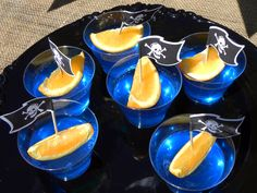 Jello with orange ships at a Pirate Girl Party #pirate #partyfood thanks to Christine and Hillary we had these at Josh's party! And they are a really good snack!