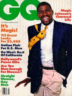 Magic Johnson for GQ, March 1987 Gq Magazine Covers, Slam Magazine, Magic Johnson, Shaquille O'neal, Black Celebrities, Jfk, Modern Man, Role Models, Hollywood