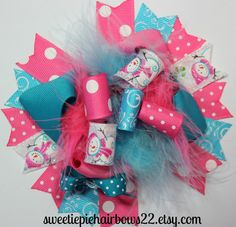 Snowman Hair bow Over the Top Deluxe by sweetiepiehairbows22, $10.99