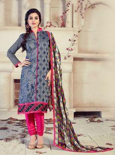 Gray Chanderi Churidar Salwar Suit 85582