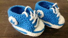 Blue and White Crochet Baby Booties, Baby Sneakers, Converse Style Baby Boots