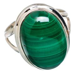 Ana Silver Co Malachite 925 Sterling Silver Ring Size Q