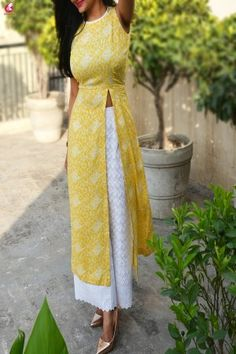 Buy Lemon Printed Modal Rayon Sleeveless Long Kurti Online in India Indian Attire, Indian Wear, Indian Dresses, Indian Outfits, Indian Designer Suits, Indian Designer Clothes, Saree Blouse Designs, Couture, Traditional Outfits