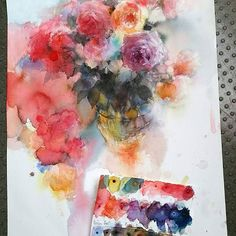 I tried to use Schmincke new color ! #schmincke#yukonagayama #nagayamayuko #watercolorpainting #watercolour