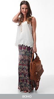 printed maxi skirt and white top