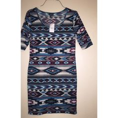 FLASH SALETribal Print Midi Dress This bodycon dress is super cute! Size Large. It has 3/4 sleeves. Size fits like a Medium. Rue 21 Dresses Midi