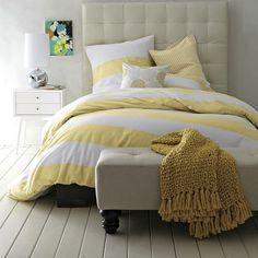 Striped duvet cover.