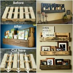 I love this. Kitsch way to create little storage units/shelves to display you're trinkets/photos etc. recycling an old wood pallet.