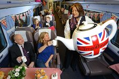 A British tea company has inked a deal to supply one million teabags to First Great Western Trains. To celebrate, passengers on board a FGW train from Paddington to Cornwall were treated to a quintessentially English tea party, complete with the world's largest fully-functioning tea pot, which brews over 300 cups