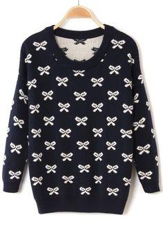 / Blue Bow Round Neck Sweater