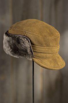 87d40c31a4e Shearling Sheepskin Cap with Snap Flaps
