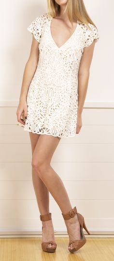 Temperly London Lace Mini Dress. The simplicity of this dress is so perfect! It is romantic, girly, feminine, and so fabulously fitting! You can wear this to any event -- brunch, graduation, or casual lunch with girl friends! The dress is fully lined with a thick lace overlay.