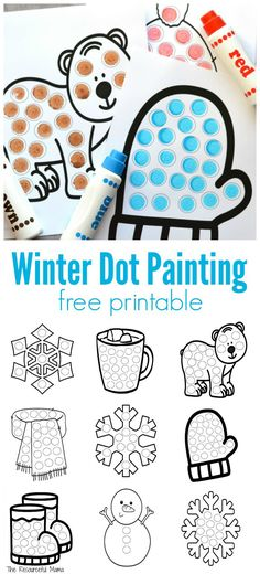 Using do a dot markers on free printable winter dot painting worksheets. 10 worksheets in all. Can also use dot stickers, bingo daubers, DIY dot painters, and more.