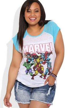 Deb Shops Plus Size Short Sleeve Raglan Top with Marvel Comics Screen $17.25 I'm not plus size but I would love this!!!