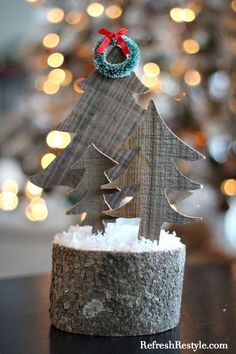 You can make your own DIY Barn Wood trees! Unique and beautiful table top decor with a little rustic design. Great for Christmas decor, using practically free!