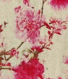 Fashion Linen Fabric- Floral Pink Ivory, , hi-res