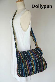 Hippie Messenger Bag Handbags Nepali Woven Bag Crossbody Bag Camera Bag Boho Bag Cotton Shoulder Bag Tribal Purse Ethnic Bag, Green Safari