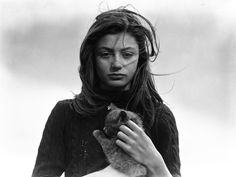 Anouk Aimée et son chat Tulipe, Belle-Île, France, 1947 an actress from Egypt.