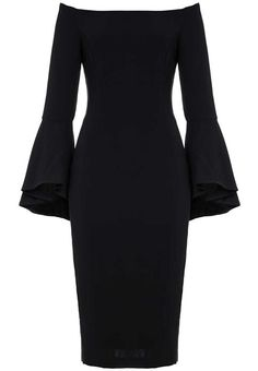 The Solange Dress in Black will be back in stock soon! Don't miss out, place your pre-order now and as soon as it arrives we'll dispatch it to you with our super speedy express post! Any other items purchased in the same transaction will be dispatched to you separately. IN STOCK 8TH JULY We're calling it; the hottest trend this season is the bell sleeve!The stunning Solange Dress features off the shoulder styling with jelly tape edge, darts for a fitted silhouette, side slit, sweeping bell…