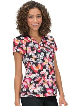 The easy care, stretch fabric on this koi Mariposa Women's Paulina V-Neck Butterfly Print Scrub Top also wicks away moisture to keep you cool and dry. An extra pocket makes organizing essentia. Butterfly Print, Scrub Tops, Koi, Stretch Fabric, Scrubs, V Neck, Blouse, Organizing, Pocket