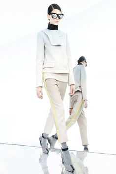 Sportswear referenced panelled pants that ooze a soft colour palette whilst the layering makes it futuristic in design. Credit: trend hunter.com