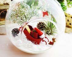 Santa's Sleigh Terrarium with Reindeer by BeachCottageBoutique, $48.00