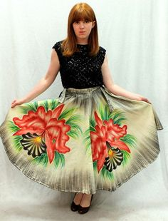 Vintage 50s Novelty Mexican Floral Painted Vacation Circle Skirt Near Mint | eBay