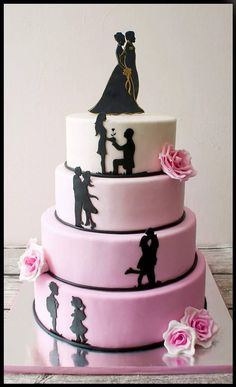 Silhouette Wedding Cake, Silhouette Cake, Wedding Cupcakes, Wedding Cake Toppers, Cake Decorating Tutorials, Cake Decorating For Beginners, Beautiful Cakes, Amazing Cakes, Marriage Anniversary Cake