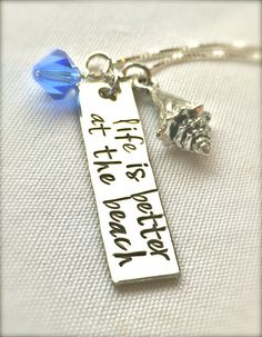 Items similar to Life Is Better At The Beach Necklace, Mother's Day Gifts, Graduation Gift, Hawaiian Jewelry, Hand Stamped Necklace, Girlfriend, ...