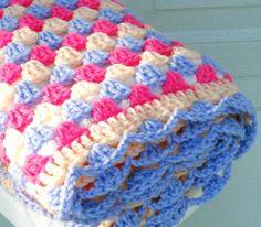 Peach blossom crochet baby blanket granny square with fleece backing!!