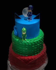 A 4 Year old birthday cake - PJ Mask theme. Couture cakes has had a remarkable increase in orders this summer. Thank you for having couture cakes a part of all your special occasions and letting us being the sweet taste in your memories. Couture Cakes creating sweet memories #pjmasks #pjmasksparty #pjmaskcake #cakes #birthday #birthdayfun #party #4thbirthday #boy #littleman #couturecakes_to #canada #toronto #mississauga #mytoronto #followus #likeus #summer #birthdayparties #catboy #owlette #gekk 3 Year Old Birthday Cake, Pj Masks Birthday Cake, 4th Birthday Cakes, 4th Birthday Parties, Birthday Fun, Birthday Ideas, Kids Birthday Crafts, Birthday Themes For Boys, Pj Max