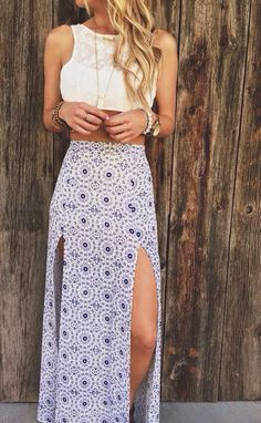White crop top with long slit maxi skirt. | Summer Style