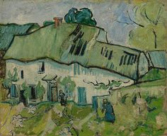 Art of the Day- Van Gogh, Farmhouse with Two Figures, May-June 1890. Oil on canvas, 38 x 45 cm. Van Gogh Museum, Amsterdam..jpg