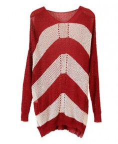 Hollow Out Stripe Round Neckline Pullover