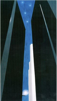 Georgia O'Keeffe, Untitled - Night City (via: theseedy) Georgia O'keeffe, Santa Fe, Wisconsin, New Mexico, Georgia O Keeffe Paintings, Alfred Stieglitz, City Painting, New York Art, Art Institute Of Chicago