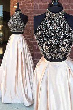 5a0f4755e Prom Dresses Two Piece, Long Prom Dresses, Cheap Prom Dresses, High Neck  Prom