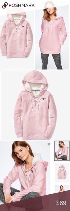 Victorias Secret Pink Sherpa Pullover Hoodie Jacket Large L Extra Large XL Pink