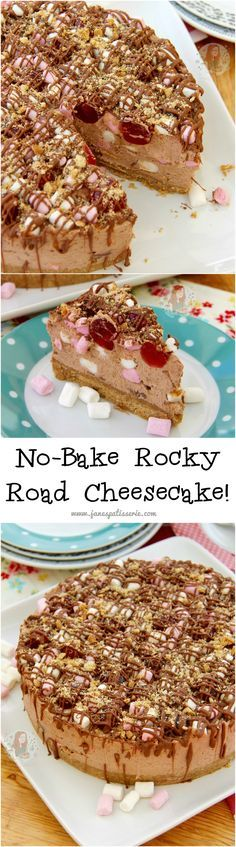 No-Bake Rocky Road Cheesecake!! ❤️ A Delicious and Chocolatey No-Bake Rocky Road Cheesecake with all the Rocky Road goodness inside and out! Perfect non-bake dessert for all Rocky Road fans!