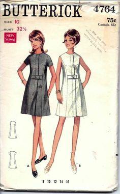 Vintage 60s A-Line Dress Sewing Pattern 4764 B32.5 Size 10 $5.72