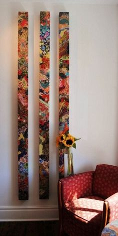 by Andrea Rinaldo. Studio at the Tremont, Collingwood OntarioTotems. by Andrea Rinaldo. Studio at the Tremont, Collingwood Ontario Instalation Art, Painted Sticks, Painted Wood, Art Abstrait, Mosaic Art, Mosaics, Art Techniques, Wood Wall Art, Textile Art