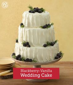 This beautifully rustic celebration cake would be perfect for a summer wedding, when berries are in season and the blackberry preserves are extra sweet. The cakes can be made ahead and frozen for up to 3 weeks. To use frozen cake layers, unwrap and let thaw about 2 to 3 hours before frosting. (Frosting should be made right before the cake is to be frosted and served.)