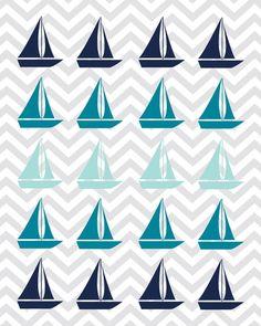 Nursery Art Print Set - Baby Boy Nautical Decor Sailboat and Quote - Navy Blue, Teal, Aqua & Gray, 8x10 (2). $30.00, via Etsy.